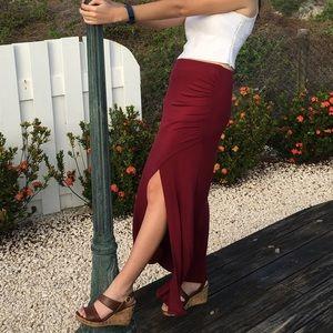 Burgundy Maxi Skirt with Slit